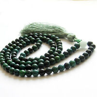 6mm 108 Prayer Beads Dark Green Jade Tibet Buddhist Mala Necklace Bracelet