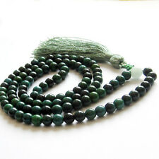 Fashion 6mm Green Jade Tibetan Buddhist 108 Prayer Beads Mala Necklace Bracelet