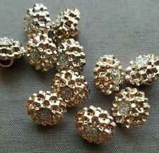 10 Pcs. Rose Gold Rhinestone Round Shank Buttons 13mm