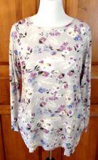 J JILL SIZE XL Waffle Knit Long Sleeve Tee Top Gray Purple Blue Floral NEW NWT