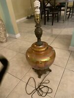 """Large Vintage Mid Century Amber Glass Table Lamp Hollywood Regency  36""""ht"""
