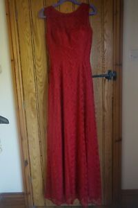 WOMENS LONG RED LACE DRESS EVENING BALL GOWN PROM - UK 14