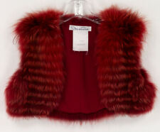 OSCAR DE LA RENTA FOX FUR BOLERO VEST RED  2011 COLLECTION