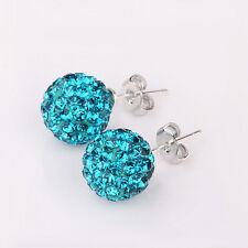 925 Sterling Silver Blue Zircon Disco Ball Earrings Ear Studs Women Girls Gift