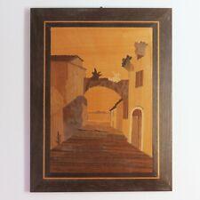 Vintage Handmade Marquetry Inlaid Multi Wood Pieced Street Scene Art