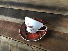 Gracie China Christmas Cup Saucer Set Red Cardinal Bird/Plaid Coffee Tea New