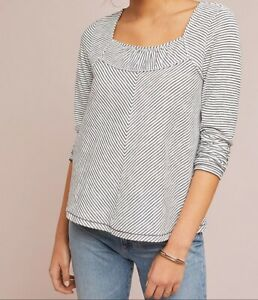 Anthropologie Kenley black and white long sleeve top