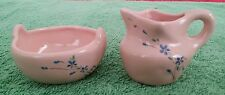Vintage Ceramic Water Pitcher and Wash Basin Miniature Doll House Pink Flowers