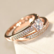 Rose Gold Round Cut Zircon Eternity Ring Set Wedding Engagement Women's Jewelery