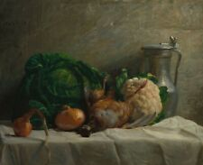 "Adolphe-Felix Cals : ""Still Life with Vegetables, Partridge"" — Fine Art Print"