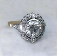 2 Tone 1.75Ct Round Near White Moissanite Art Deco Engagement Ring 14k Gold Over