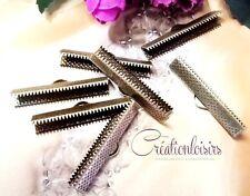 5 Fermoirs-embouts à griffe bronze pour bracelets, fils, liberty 35 x 8 mm