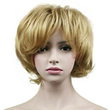 Lady Short Curly Wave Blonde Fake False Hair Heat Resistant Synthetic Wigs + cap