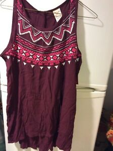NWT Faded Glory Red burgandy with embroidery Sleeveless Size M 8-10