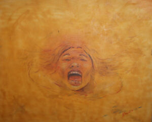 1995 Abstract portrait oil painting signed