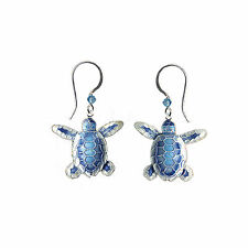 Flatback Hatchling SEA TURTLE EARRINGS Sterling Silver BAMBOO Gift Boxed