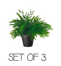 SET OF 3 IKEA ARTIFICIAL POT PLANT FAKE GREEN INDOOR OUTDOOR FEJKA