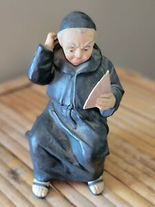 """Vintage Friar Monk Playing cards Porcelain Figurine Made in Germany 5"""""""