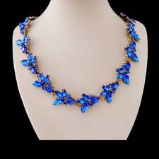 Strass Blüten Blume blau Statementkette Kette Halskette Collier Glamour neu
