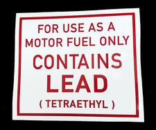 Great Period Lead Warning Sticker for a Vintage Petrol Pump