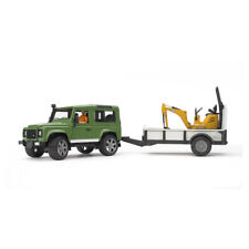 BRUDER Land Rover Defender With 1 Axle Trailer JCB Micro Excavator 02593