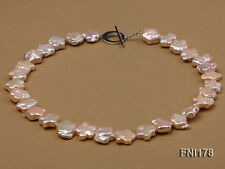 """Unique Flower-shaped Strand 15mm Pink Cultured Freshwater Pearl Necklace 17"""" JYX"""