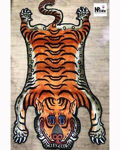 Tibetan Tiger Silk Rug Large Medium and Small 100 Knot  Handmade in Nepal Orange