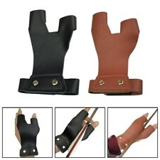 New listing Archery 2 Finger Guard Tab Left Hand Leather Protector Gear Bow Shooting ' YU