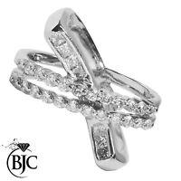 Bjc ® 18CT Oro Blanco Diamante Cóctel 1,07 Quilates Talla k Cruzado Jornada