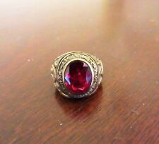 Bloomfield High School Class Ring- 10k Yellow Gold Size 4 Synthetic Ruby 1954