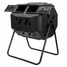 Dual Rotating Outdoor Garden Compost Bin Large Composting Tumbler 43 Gallon