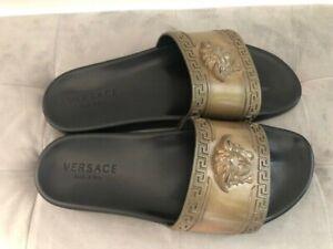 Authentic Versace Medusa Head Gold Slide Pool Sandals 9