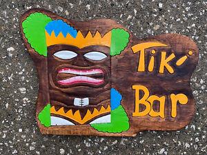 TIKI BAR CARVED WOOD SIGN WALL ART TIKI DECOR TROPICAL HOME PATIO