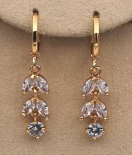 """Flower Chain Tiger Eyes Eardrops Studs 18K Gold Filled 1.2"""" Earrings Clear Topaz"""