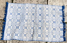 Vintage Bathroom mat with Fringe 60s  Blue and White 100% Cotton VGC