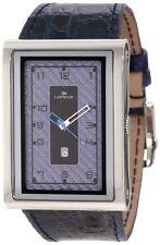 NEW Lorenz Men's 025922CC TB7 Big Rectangular Blue Leather Band Watch