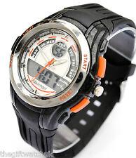 Slazenger Mens Ana-Digi Black Sports Watch, Chronograph & Multi Function Dials