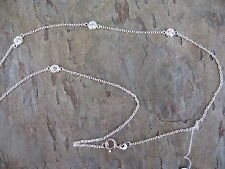 """Sterling Silver Chain Link Bezel Set Stones Station Necklace Included NEW 16"""""""