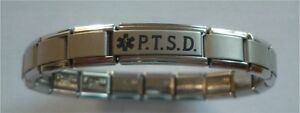Italian Charms Post Traumatic PTSD    P.T.S.D. Medical Alert Bracelet