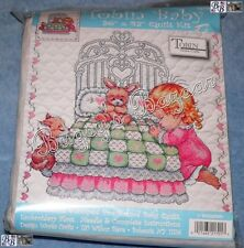 Tobin PRAYERS Baby Quilt Stamped Cross Stitch Kit - Morehead - Kitten, Bunny