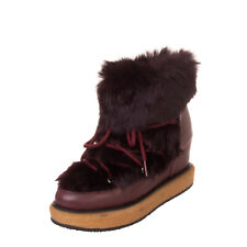 RRP€240 PALOMA BARCELO Leather & Rabbit Fur Ankle Boots Size 40 UK 7 US 10 Wedge