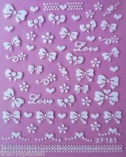 3D Nail Art Bows Nail Art Stickers Decals Transfers Valentines Love Hearts Lace