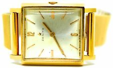 Zenith 18K Gold Manual Mens Square Vintage  Swiss Watch Running w Orig Band