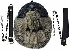 Full Dress Kilt Sporran Grey Rabbit Fur Black Celtic Cantle / Scottish Sporrans