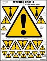 24 Industrial Hazard Warning Safety Decals, Caution Stickers in 4 Sizes.