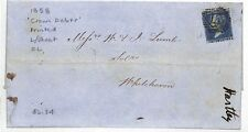 AZ4 1858 GB 2d BLUE *WHITEHAVEN* Crown Debts Printed EL {samwells-covers}PTS