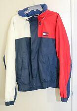 Vtg 90s Tommy Hilfiger Color Block Flag Red White Blue Coat w Fold Out Hood XL