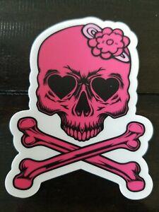 Pink Skull w Bow STICKER - Waterproof Vinyl  Laptop Skateboard Surfing