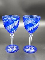 2 Cobalt Blue Wine Goblets Cut To Clear Crystal Bohemian Stemware Glass Pair