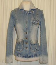 BEAUTIFUL SASS&BIDE DISTRESSED FADED BLUE WASH DENIM JACKET AUS 8 US 2